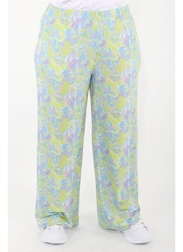 Luokk Jımmy Beli Lastikli Rahat Bol Kesimli Dökümlü Kadın Pantolon Desenli Renkli